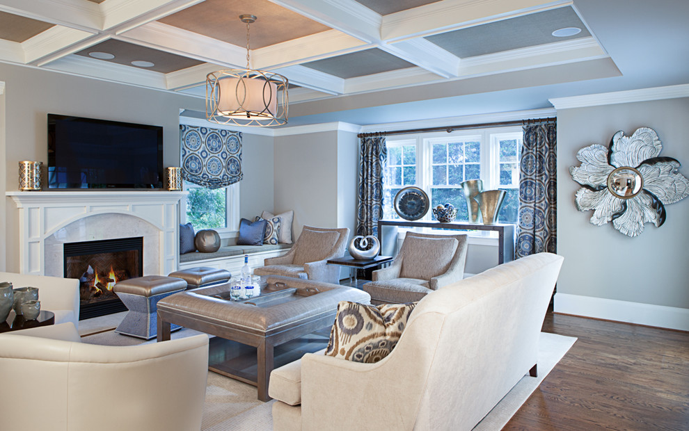 Inspiration for a large transitional formal and open concept dark wood floor and brown floor living room remodel in DC Metro with gray walls, a standard fireplace, a wall-mounted tv and a stone fireplace