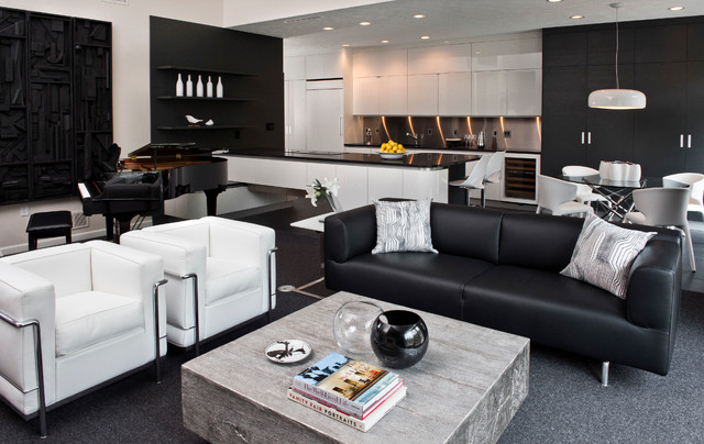 Chic Black and White - Contemporary - Living Room - Other - by Weisshouse