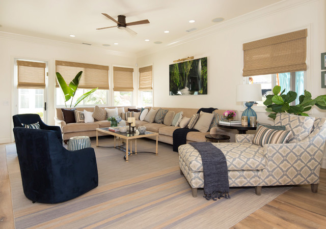 Living room - large transitional medium tone wood floor living room idea in San Diego with white walls and no tv
