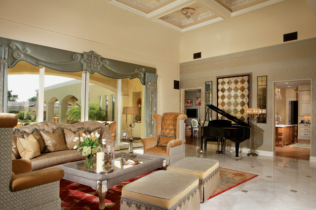 Chic luxury transitional living room phoenix by for Living estilo clasico