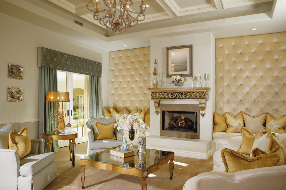 Huge ornate formal and open concept carpeted living room photo in Phoenix with a tile fireplace, a standard fireplace, a wall-mounted tv and beige walls
