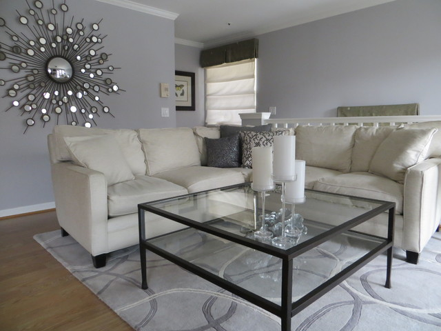 Chic Shimmer Open Concept Contemporary Living Room