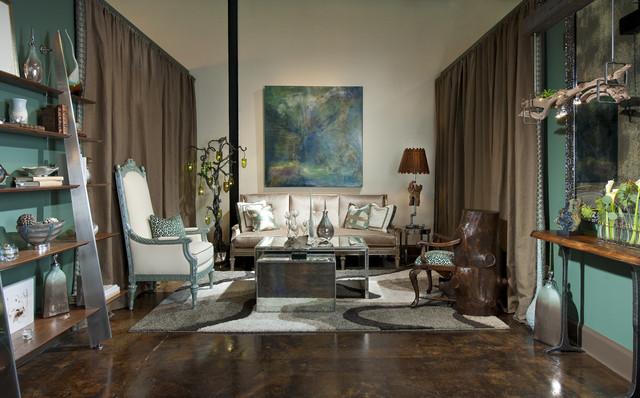 Chic showroom living room vignette eclectic living for Showroom living room ideas