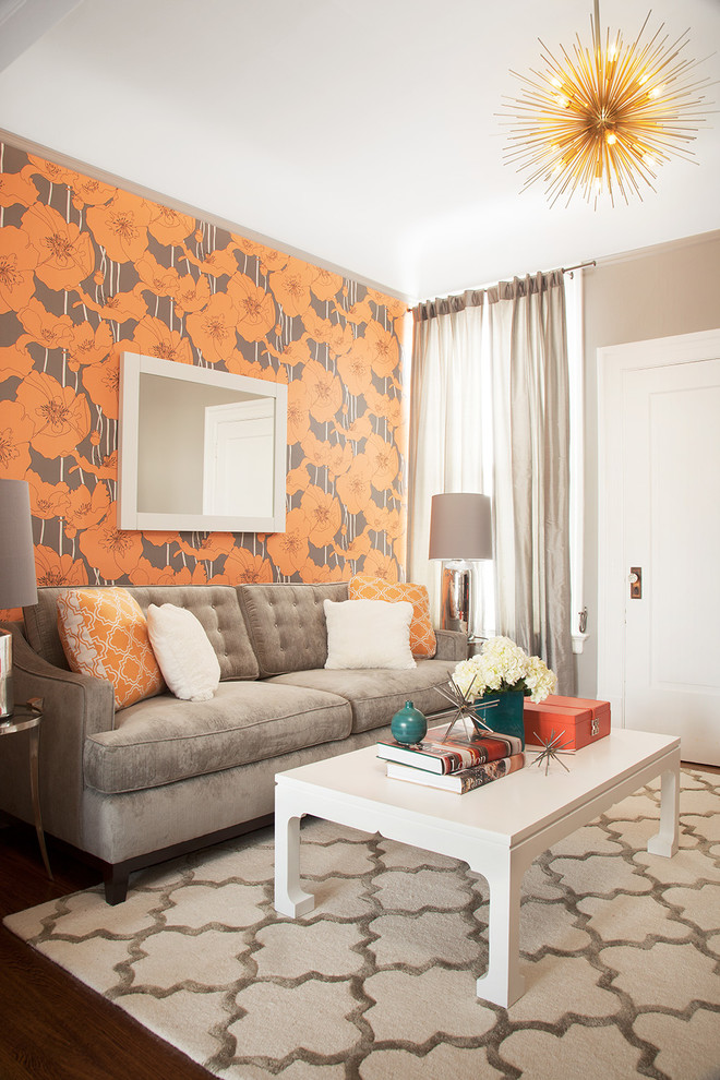 Living room - small transitional living room idea in San Francisco with multicolored walls