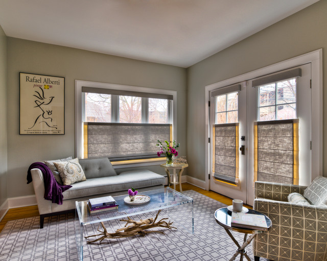 Chicago interior design gray sitting room - Houzz window treatments living room ...