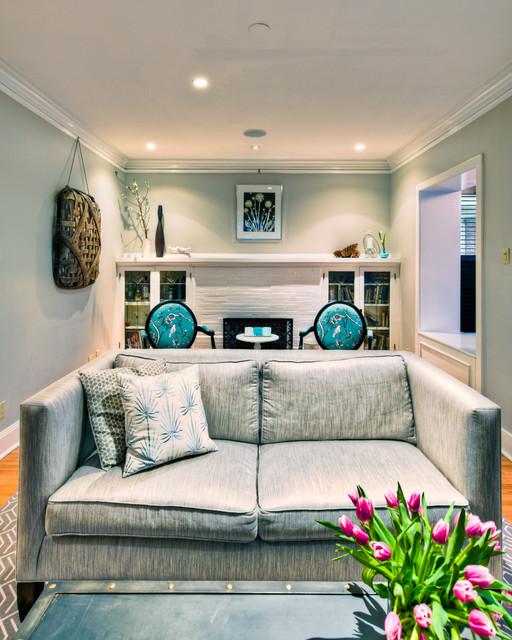 Contemporary Living Room Design Houzz: Chicago Interior Design Gray Sitting Room