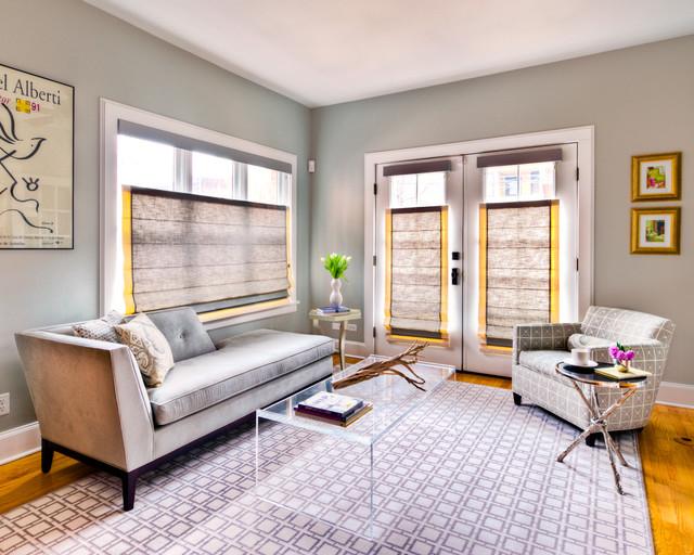Chicago Interior Design Gray Sitting Room contemporary-living-room