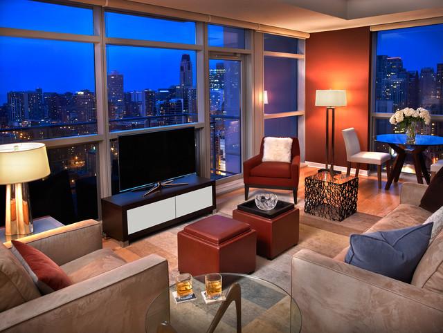 Chicago River North Condo contemporary-living-room