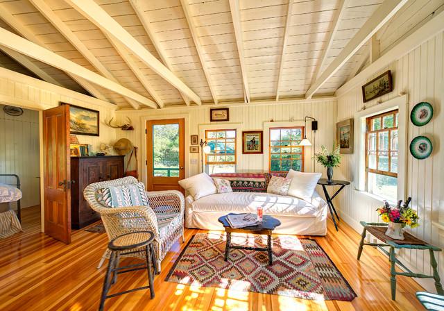 Chilmark Renovated Shack Rustic Living Room Boston