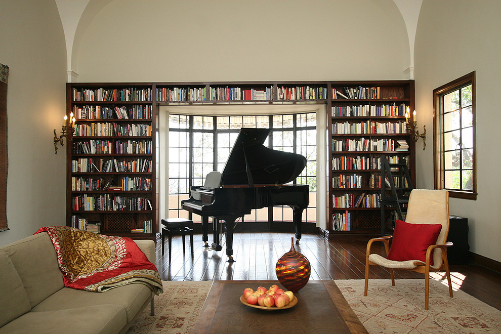 Inspiration for a zen living room library remodel in Los Angeles