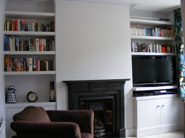 Chloe: Alcove Cupboards And ShelvesModern Living Room, London