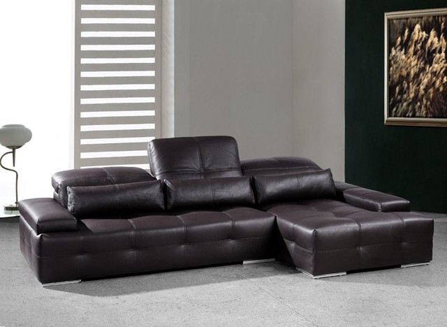 Chocolate Brown Sectional Sofa with Adjustable Headrests Modern