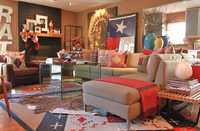 Eclectic Living Room Photo In Dallas With A Standard Fireplace And A Brick  Fireplace Part 24