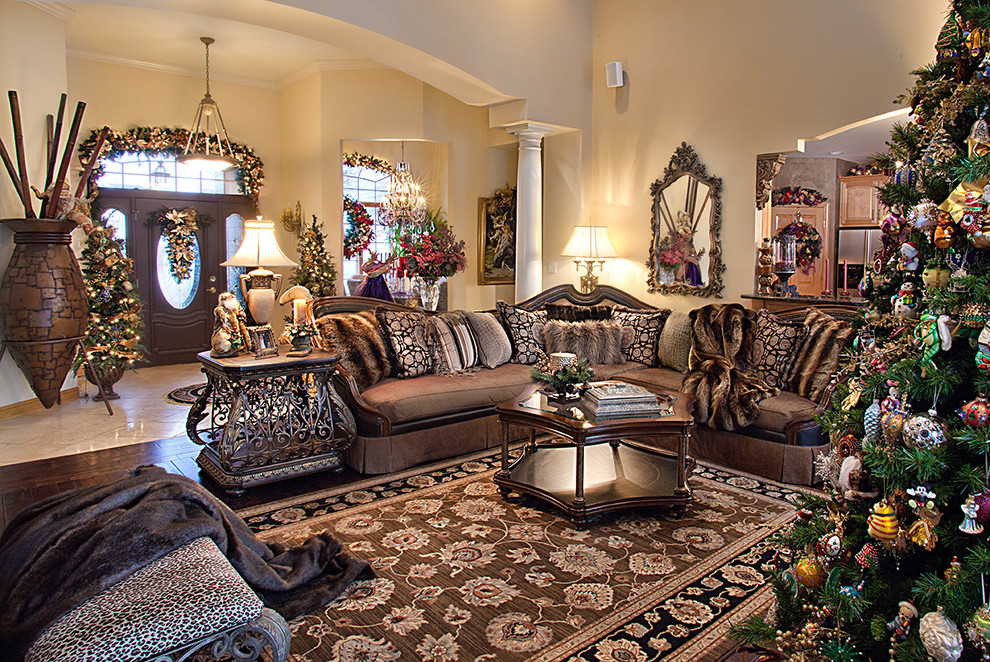Inspiration for a large mediterranean formal and open concept dark wood floor living room remodel in Chicago with beige walls, a standard fireplace, a tile fireplace and a media wall