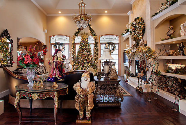Christmas decor mediterranean living room chicago by spallina interiors for Pictures of living rooms decorated for christmas