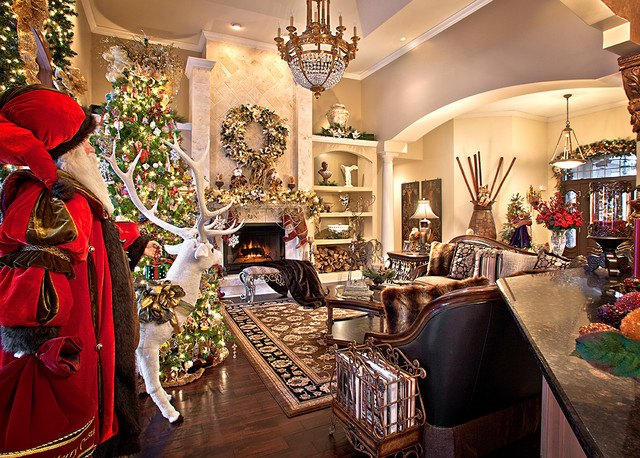 christmas decor mediterranean living room chicago by spallina interiors. Black Bedroom Furniture Sets. Home Design Ideas