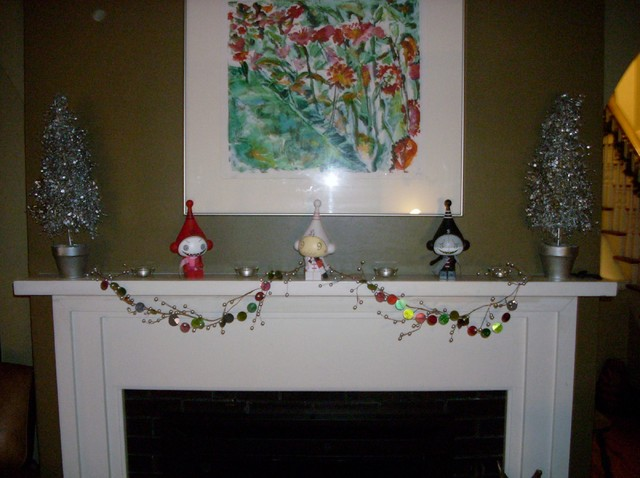 Christmas Fireplace Mantle eclectic-living-room