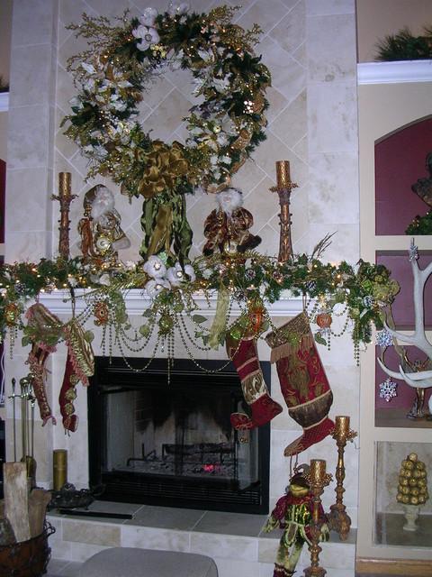 Christmas Great Room Fireplace Mantel traditional-living-room