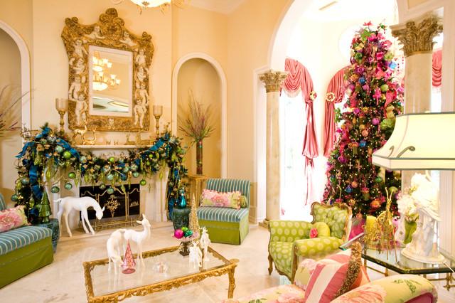 Christmas interior traditional living room houston - Living room christmas decor ideas ...