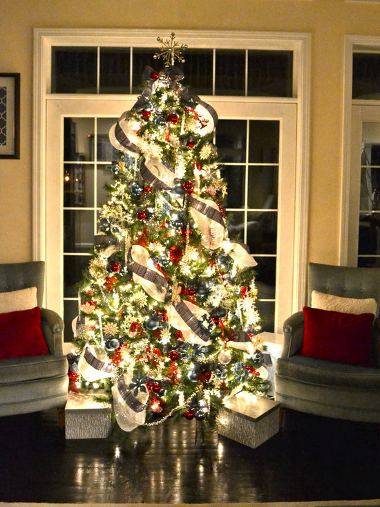 Christmas Decoration Ideas With Ribbon : Silver mesh christmas tree ribbon home design ideas
