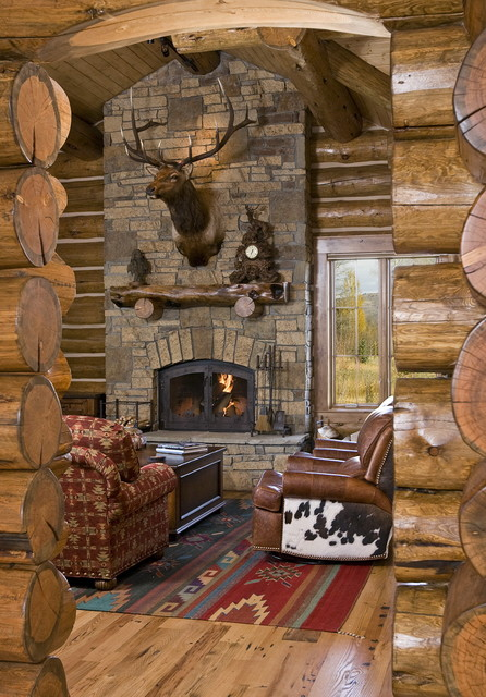 Chronacher fireplace for Log cabin fireplaces pictures