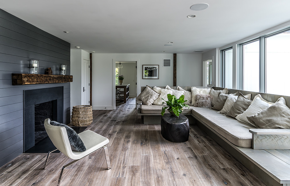 Living room - mid-sized farmhouse living room idea in New York with a standard fireplace and no tv