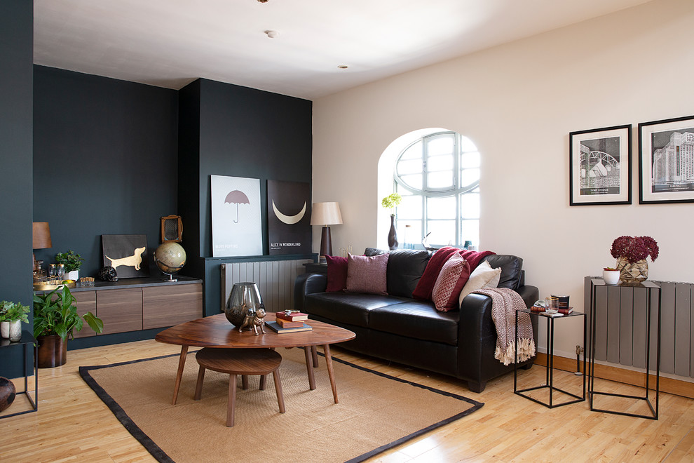 Mid-sized transitional enclosed and formal light wood floor and beige floor living room photo in Other with beige walls