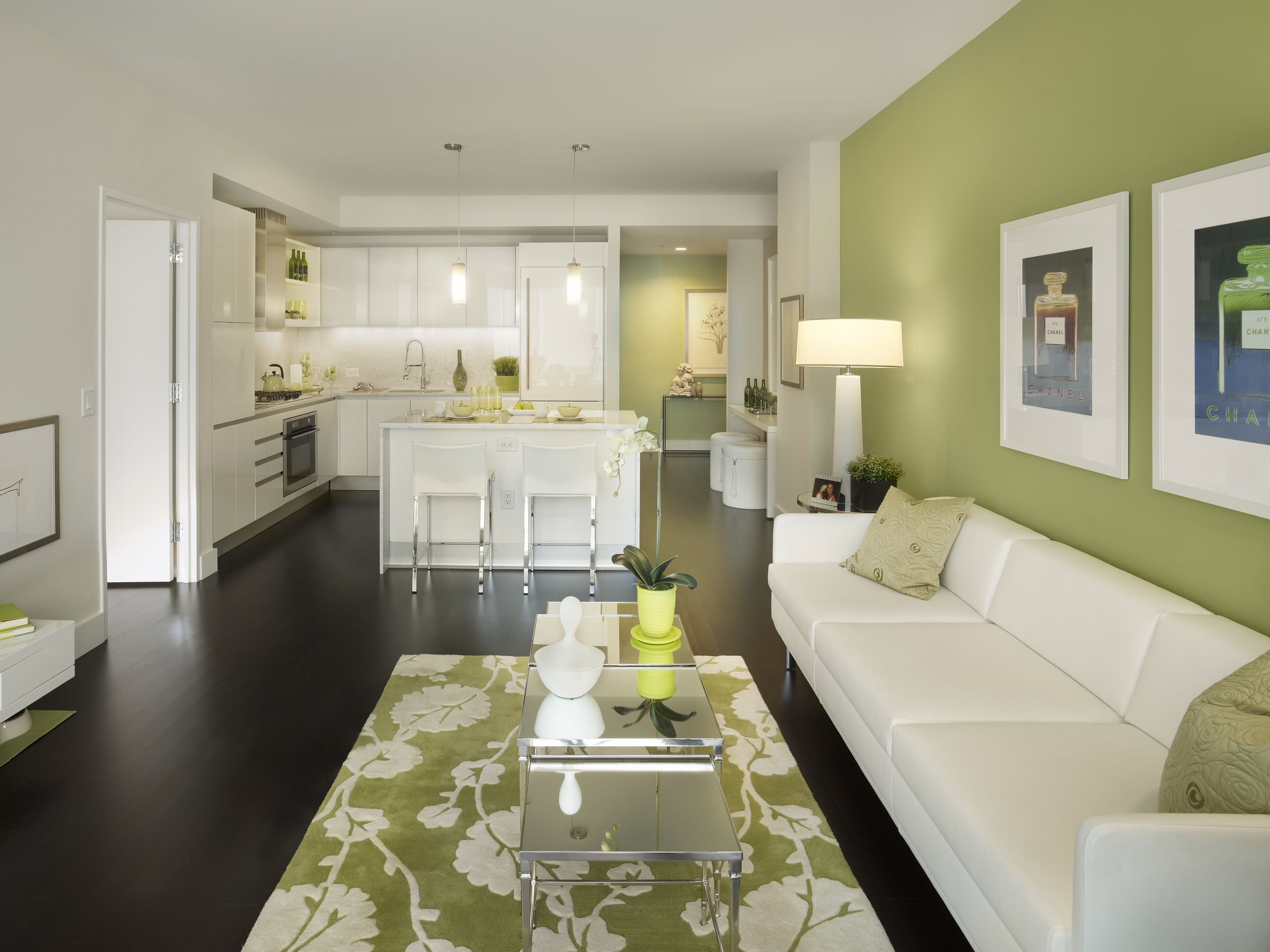 75 Beautiful Dark Wood Floor Living Room With Green Walls Pictures Ideas February 2021 Houzz