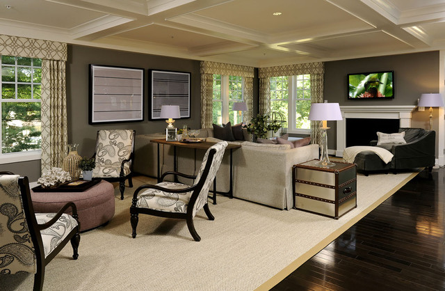 Two Seating Area Transitional Open Concept Living Room Photo In DC Metro With Gray Walls And A Standard Fireplace