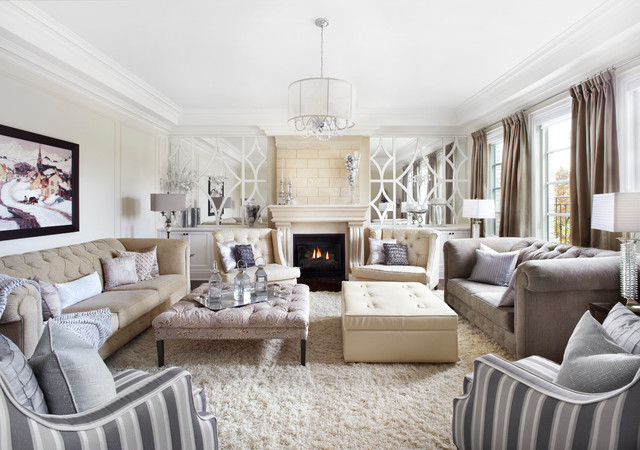 Clic Luxurious Neutral Cream And Grey Living Room Transitional
