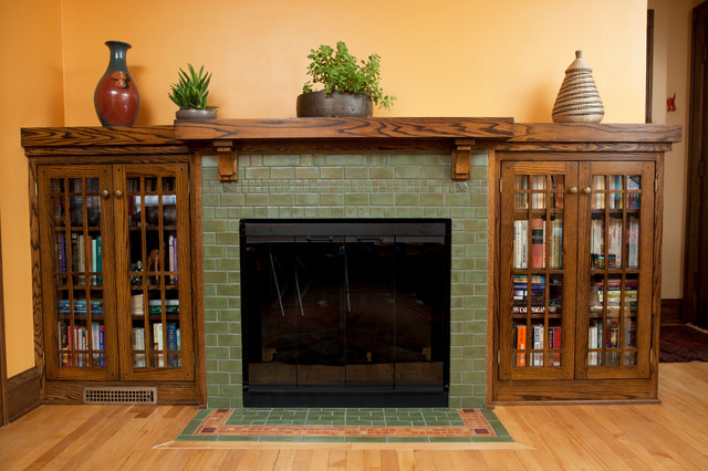 Classic arts crafts fireplace craftsman living room for Craftsman fireplaces photos
