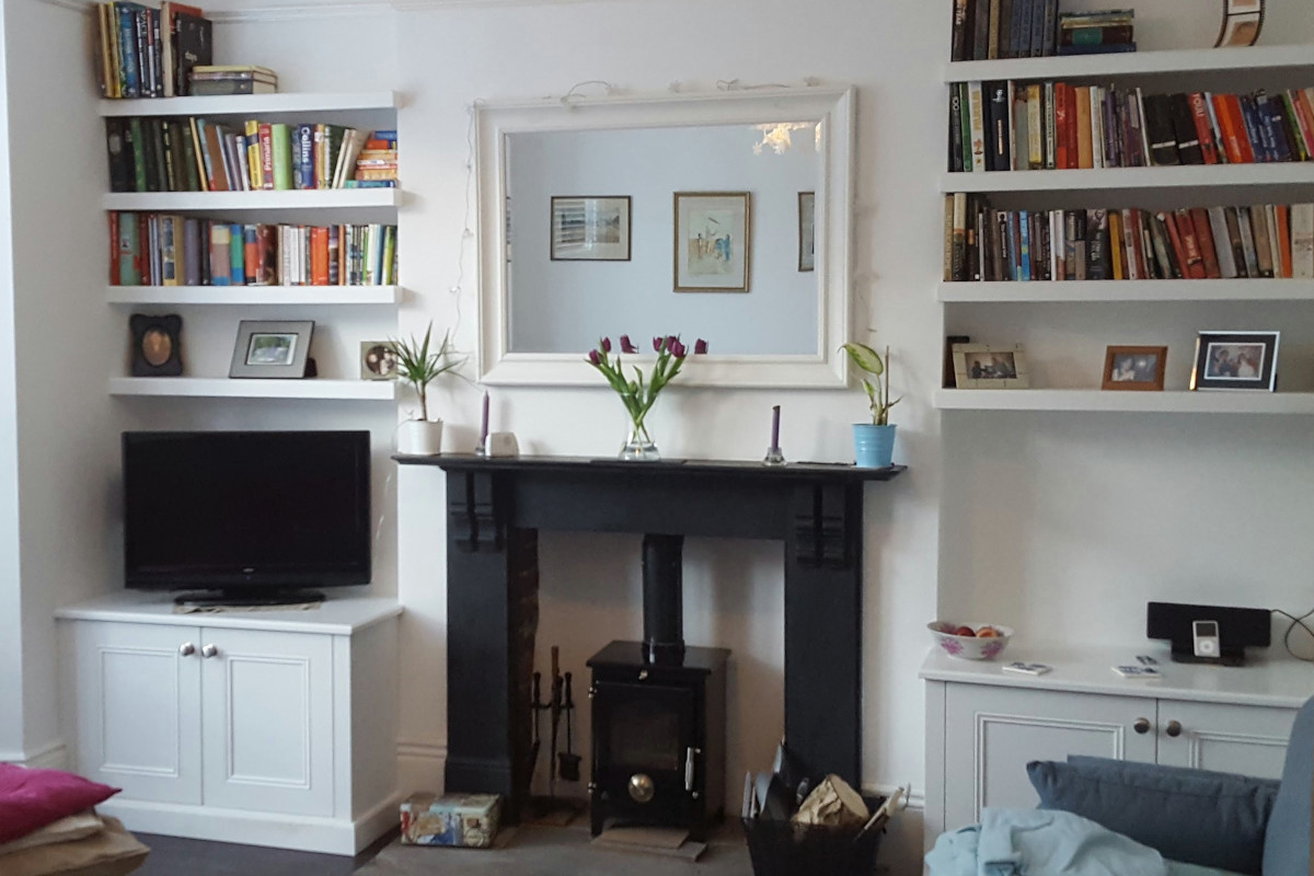 Classic Base Cupboards with Floating Shelves Projecting from Shallow Alcoves