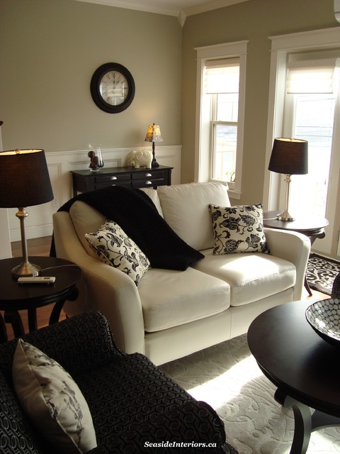 Black and taupe living room classic black and white living room