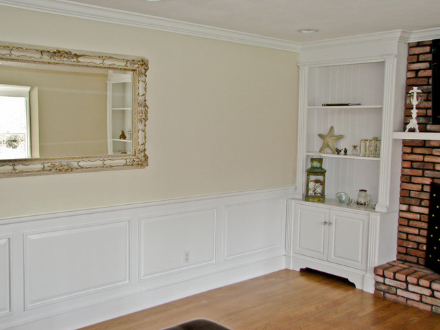 Classic colonial raised panel wainscoting traditional for Living room wainscoting ideas
