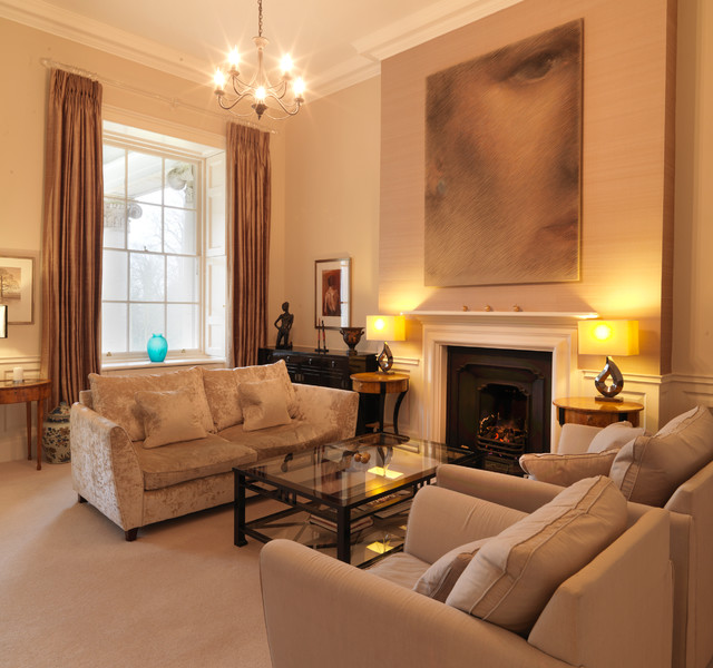 Classic contemporary apartment in an english stately home for Classic traditional living rooms