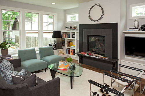 Contemporary Living Room By Edina General Contractors REFINED LLC Featuring  Carlisle Wide Plank Dark Wood Flooring