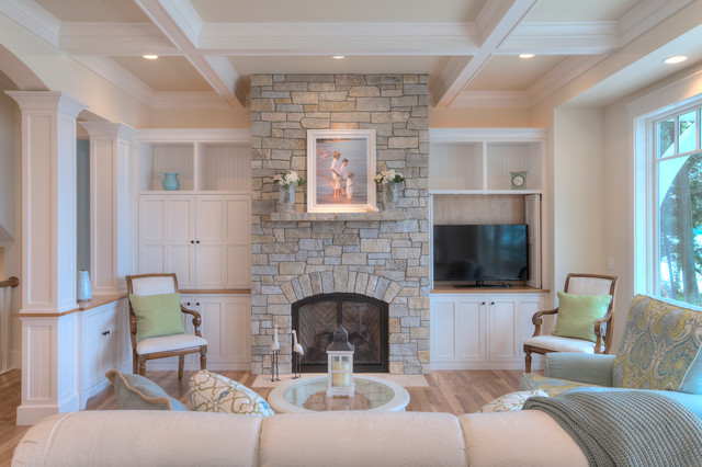 Classic cottage beach style living room other by mac custom homes - Beach style living room ...