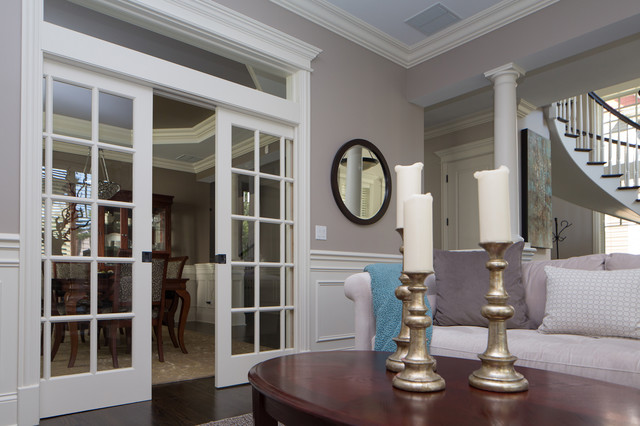 Example Of A Mid Sized Clic Formal Dark Wood Floor Living Room Design In Chicago