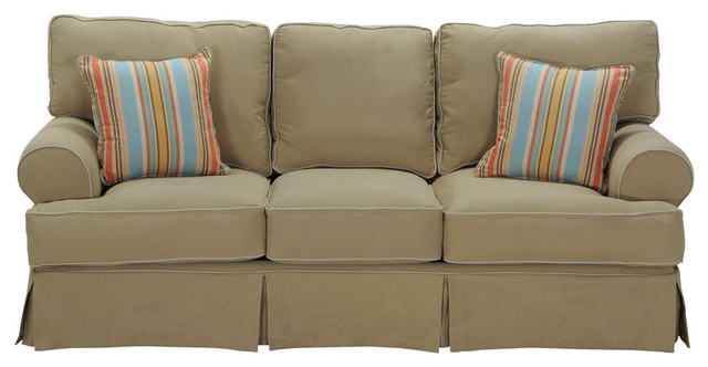Classic Khaki Slipcover Sofa Traditional Living Room