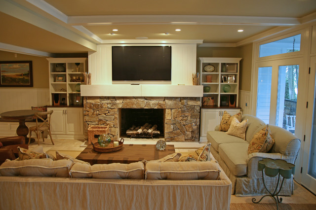 classic lakefront traditional living room - Lake Front Home Designs