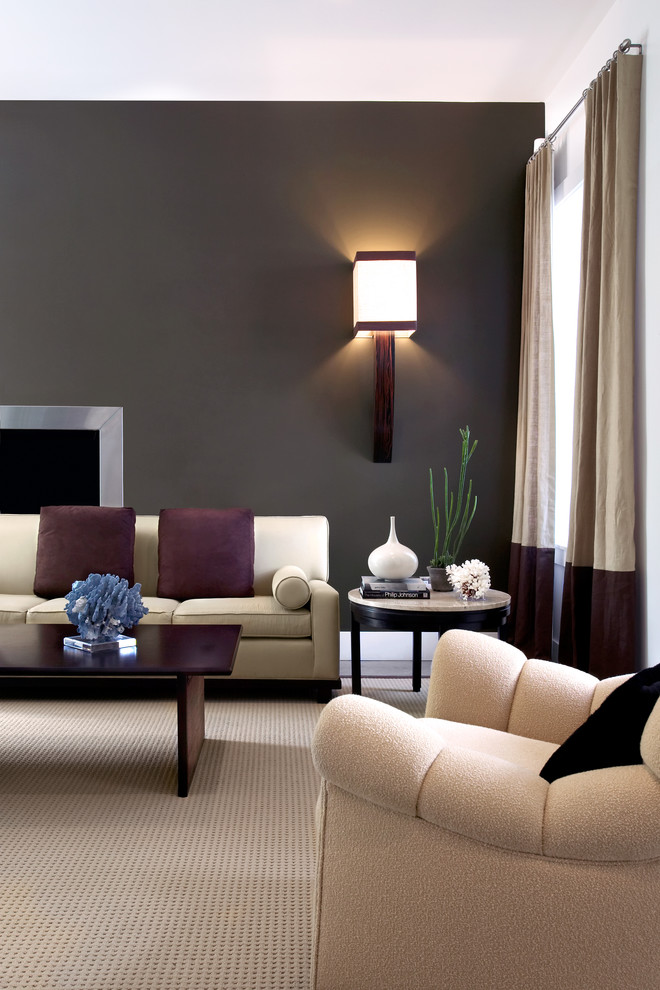 Inspiration for a transitional living room remodel in New Orleans with gray walls