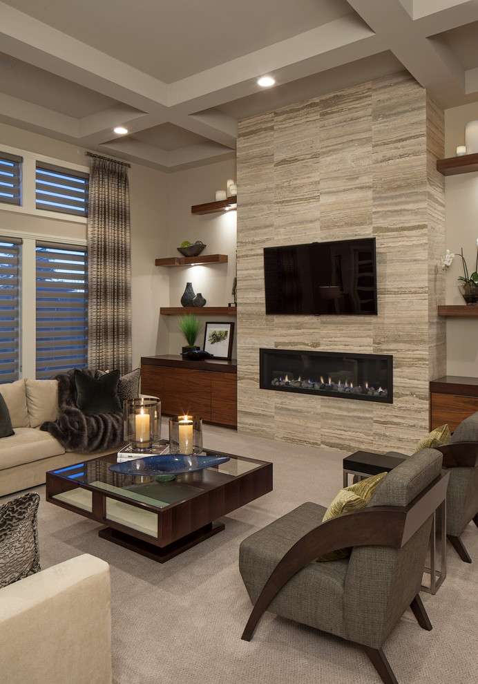 Example of a trendy formal carpeted living room design in Omaha with a ribbon fireplace, a wall-mounted tv and beige walls