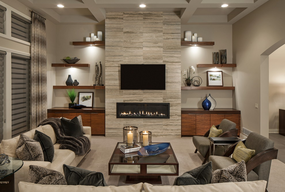 Inspiration for a contemporary carpeted living room remodel in Omaha with a ribbon fireplace, a wall-mounted tv and beige walls
