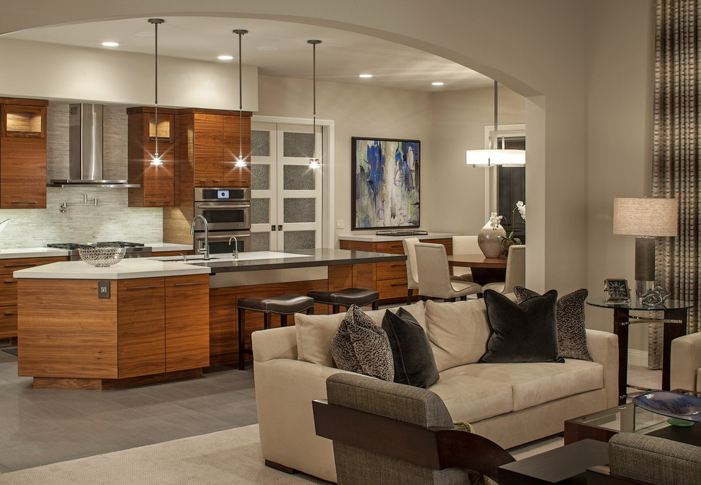 Inspiration for a contemporary carpeted living room remodel in Omaha