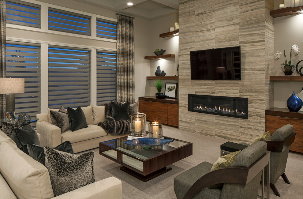 Inspiration for a contemporary formal carpeted living room remodel in Omaha with white walls, a ribbon fireplace and a wall-mounted tv