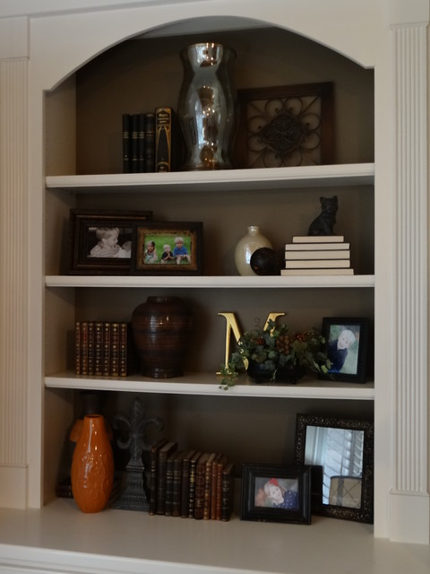 Client Marsden Accessory update.  Built-Ins Living Room. traditional-living-room