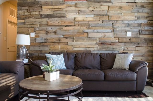 Close Up Of Living Room Pallet Wall Rustic Living Room Dallas By Amy S Paint And Remodeling Solutions