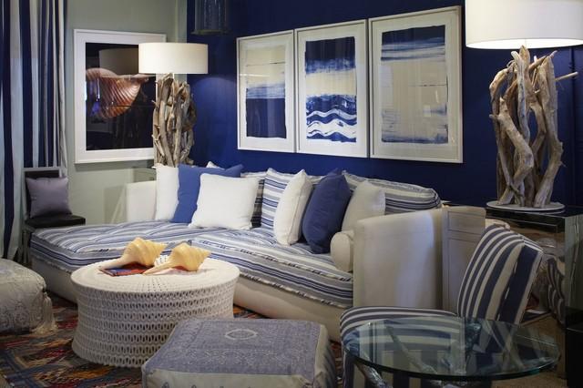 Coastal Blue Living Room Contemporary Living Room