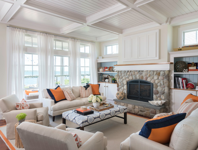 Coastal chic beach style living room providence by for Beach house living room ideas
