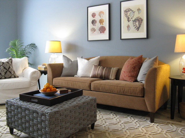 Coastal Color Scheme Eclectic Living Room Los